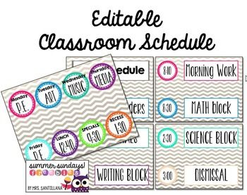 I went back and found a schedule board that I made last summer and made it editable. So, you can change the title, times, and subjects. There is also a small chart that you can add what specials you go to each week. You could use a clothespin to mark where your class is each day (make it a classroom job).This item is part of my Summer Sundays- Freebies!