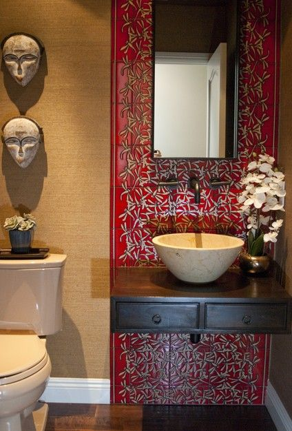 Asian-inspired bathroom design.