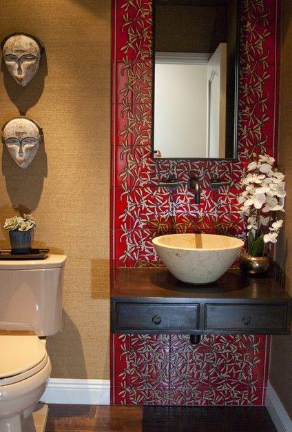 Asian-inspired bathroom design.