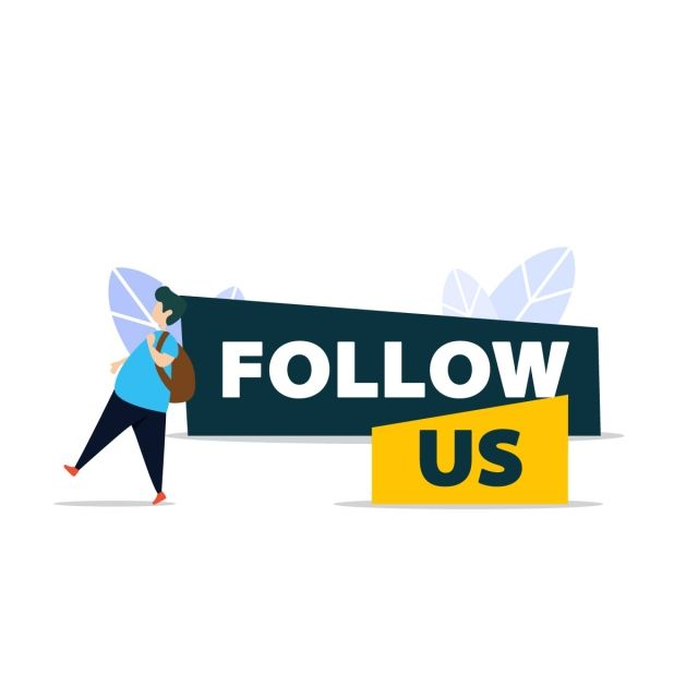 Follow Us And Like Us In Flat Style Design With A Man Walking At Follow Us Sign Follow Us Like Us Sign Png And Vector With Transparent Background For Free Do