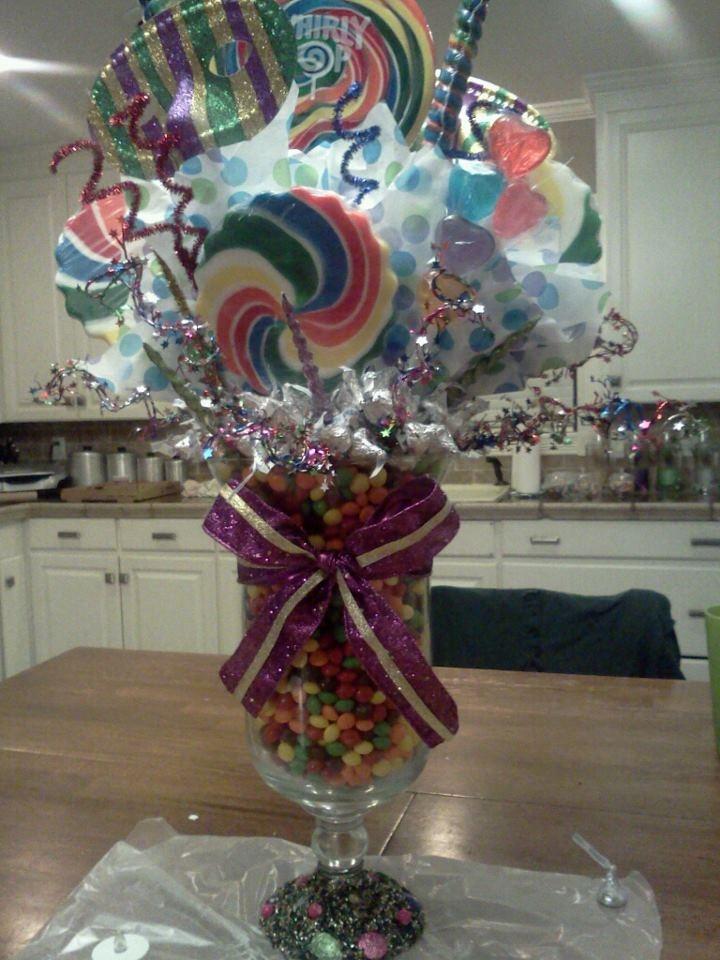 Candy centerpiece i made for a mardi gras ball craft