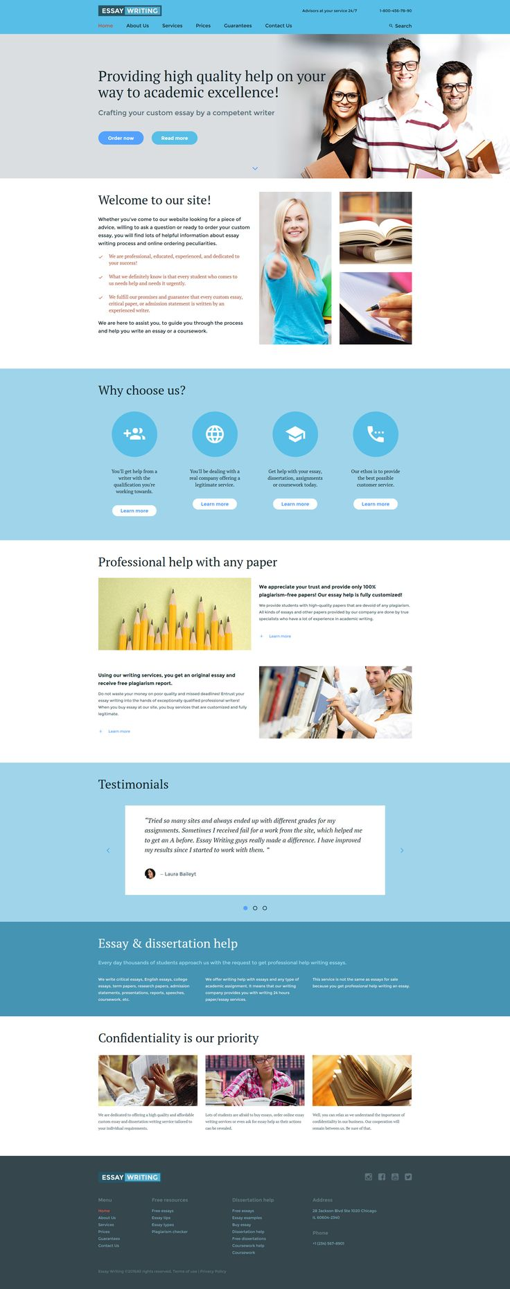 The 25 best html website templates ideas on pinterest web essay writer website template with blue grey layout and accurately styled legible text pronofoot35fo Image collections