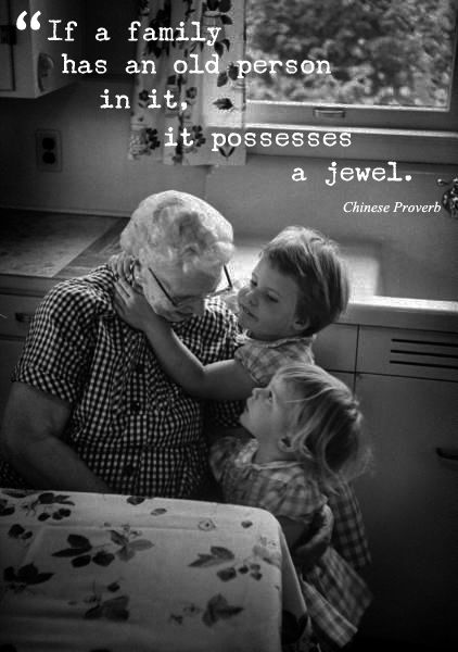 """""""If a family has an old person in it, it possesses a jewel."""" Chinese Proverb / Image via bloglovin.com / #inspiredquote #grandparents"""