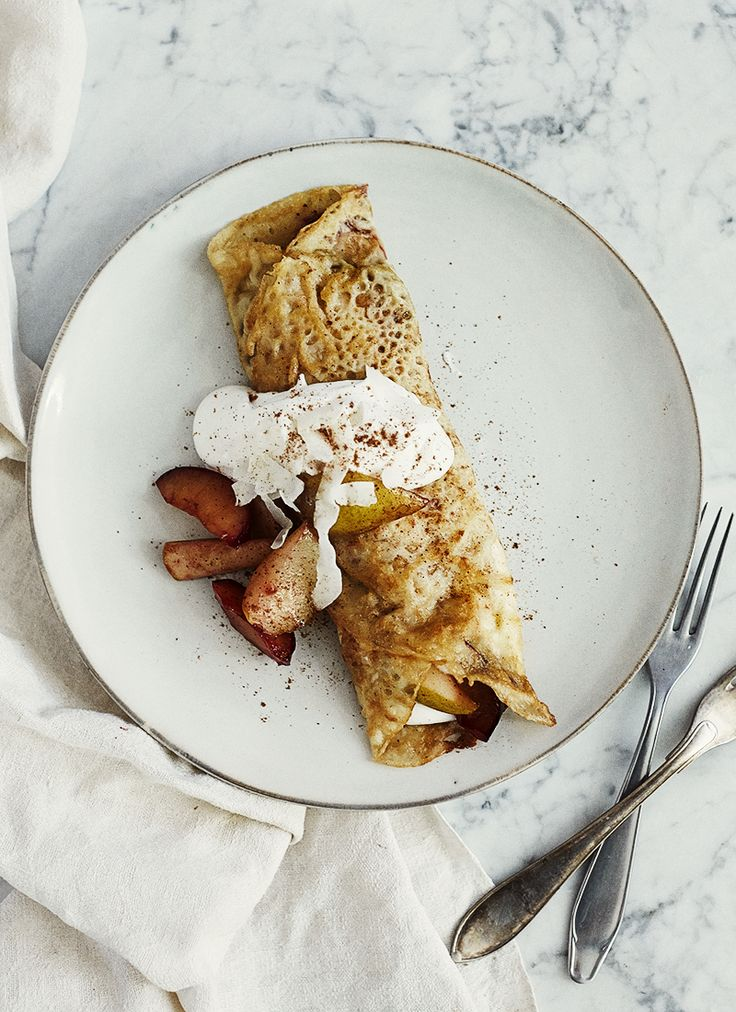 Gluten and milk free crepes with caramelized  pears and plums