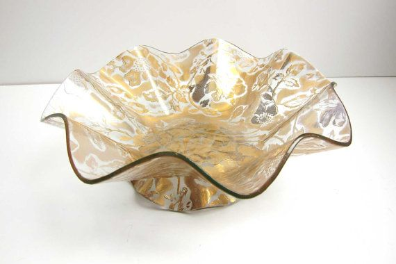 Vintage Ricco Verre Belgium Glass Gold Floral Ruffled Console