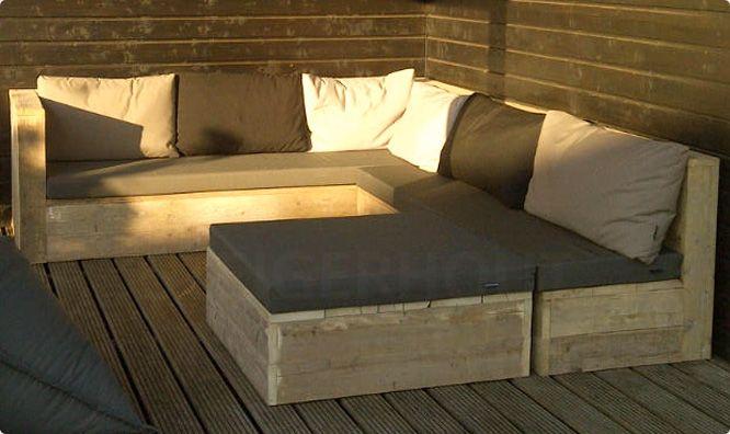 Loungebank steigerhout met tafel/hocker