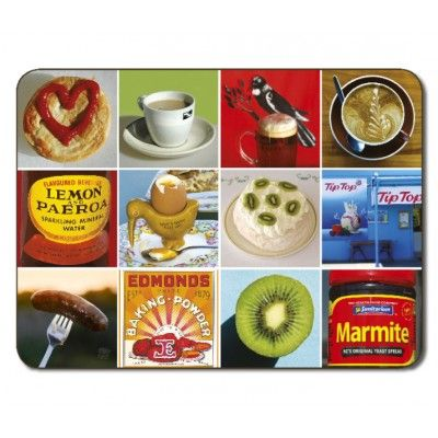 Placemats Kiwi Food Icons. Set of six quality Jason placemats featuring the Kiwi Food Icons design depicting images from New Zealand's iconic food brands that have remained proudly New Zealand Made. Protect furniture from staining and scratching in style with these easy care placemats. Simply wipe with a damp cloth and dry with a soft cloth and they will stand the test of time. Dimensions 29 x 21.5cm (111/2 x 81/2 inches)   See more at www.entirelynz.co.nz/gifts
