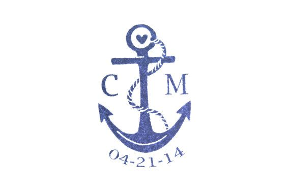 Anchor With Initials and Date Rubber Stamp, Nautical Save the Date With Wood Backing on Etsy, $18.99