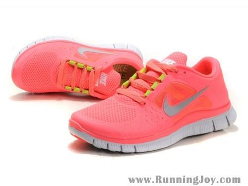 Nike Free Run + 3 Women Pink/Silver Gray/Fluorescent Green Cheap Nike Running Shoes   Nike Free Run NZ $96
