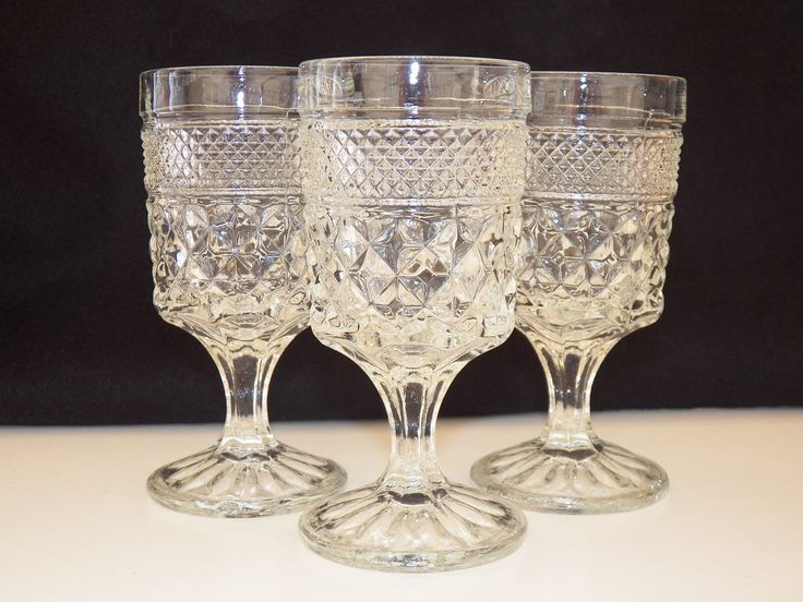 Vintage Glassware Anchor Hocking Wexford Set of Three Goblets Clear Glass Bar Glassware Stemware Free Shipping.