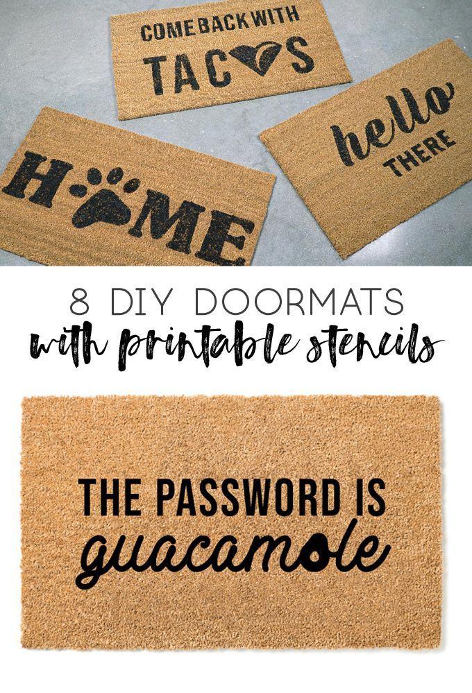 How To Stencil A Doormat Diy Doormat Dog Doormat Cat Lover Guacamole Taco Doormat Wine Gifts Gifts For Frie In 2020 Door Mat Diy Front Door Mats