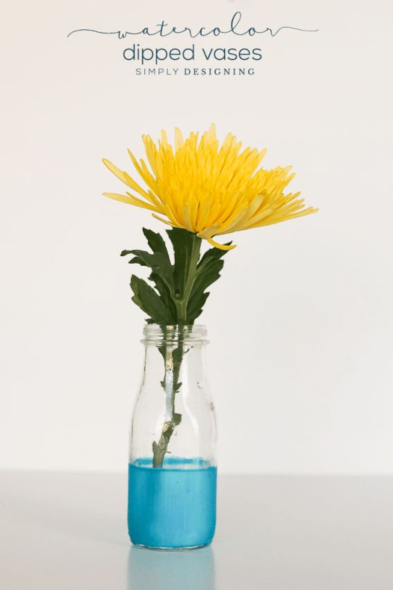 Watercolor Dipped Vase Spring CraftsEasy