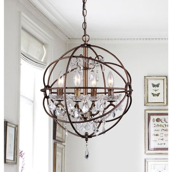 Warehouse Of Tiffany Edwards Antique Bronze 16 Inch 4 Light Crystal Chandelier Brown