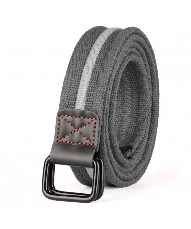 Mens Plus Size 39 71 Double D Ring Canvas Cloth Belts Grey