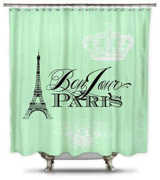 Catherine Holcombe Bonjour Paris Mint Green Fabric Shower Curtain, Standard Size contemporary-shower-curtains