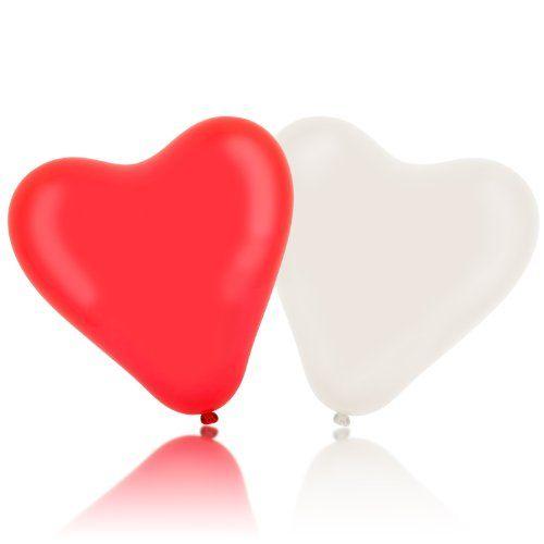 Lumaland 100 Herzluftballons rot weiß Helium geeignet