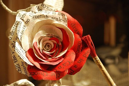 Make roses from printed pages or book pages and paint red. For Jessica's Alice in Wonderland inspired baby shower