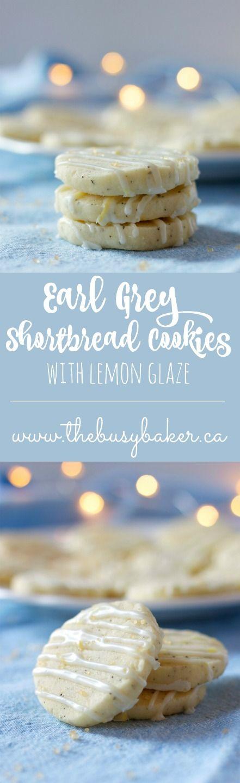 Earl Grey Shortbread Cookies with Lemon Glaze from www.thebusybaker.ca