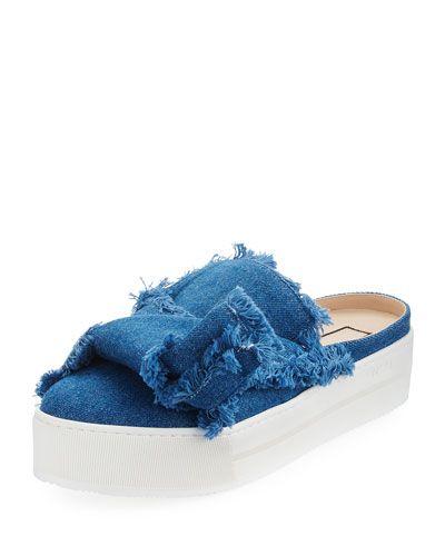 Frayed Denim Platform Mule, Blue