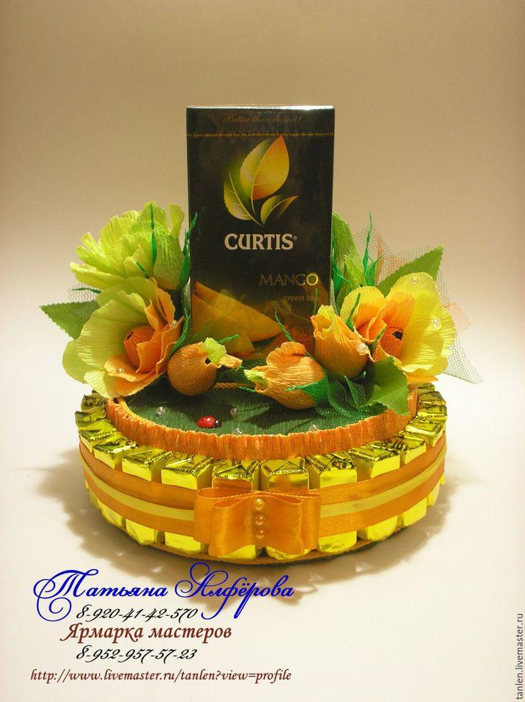 Купить Торт- шкатулка из конфет и чая - комбинированный, подарок, сладкий подарок, сладкий сувенир