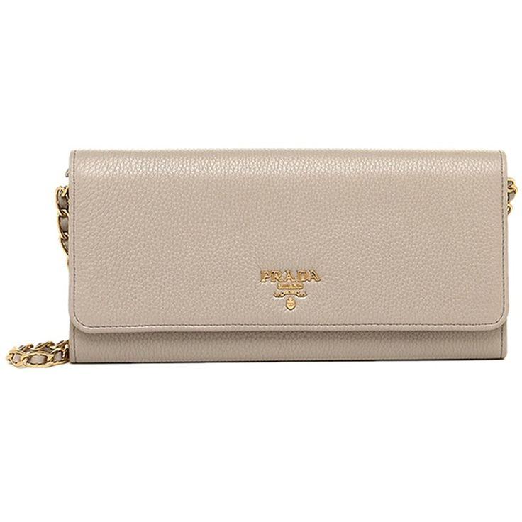 Prada Pomice Grey Grain Leather Chain Cross-Body Wallet Clutch Handbag 1MT290