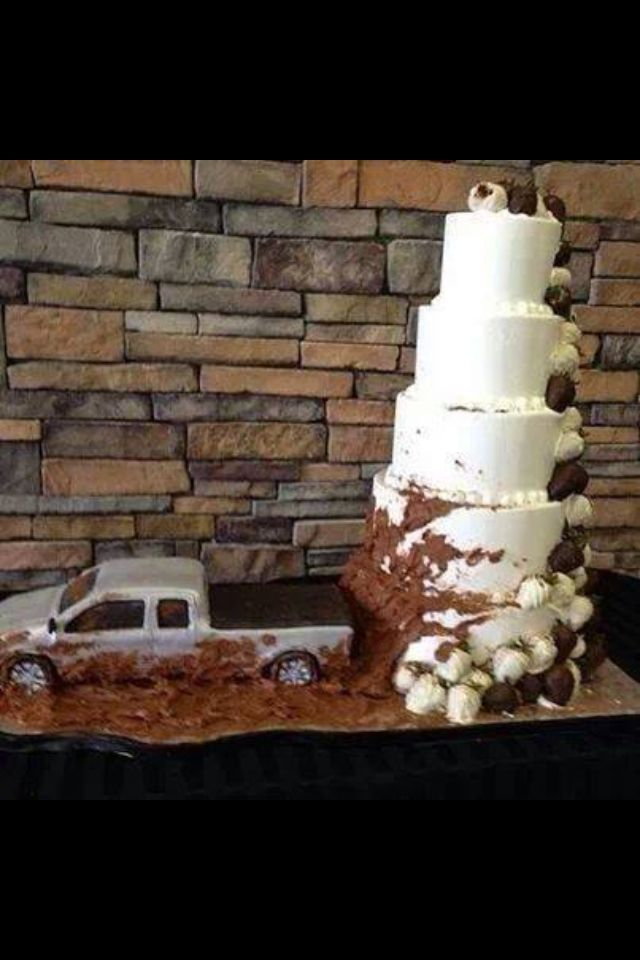 Muddy Truck Wedding Cake ; would like this but with my hubby's 92' Dodge Cummins Diesel