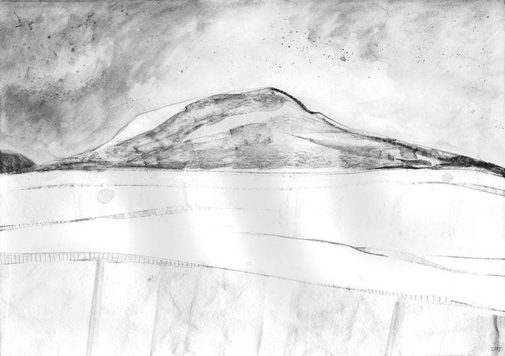 """Saatchi Online Artist: Shaun Michael Jones; Graphite 2013 Drawing """"Rain Over The Peak District III"""""""