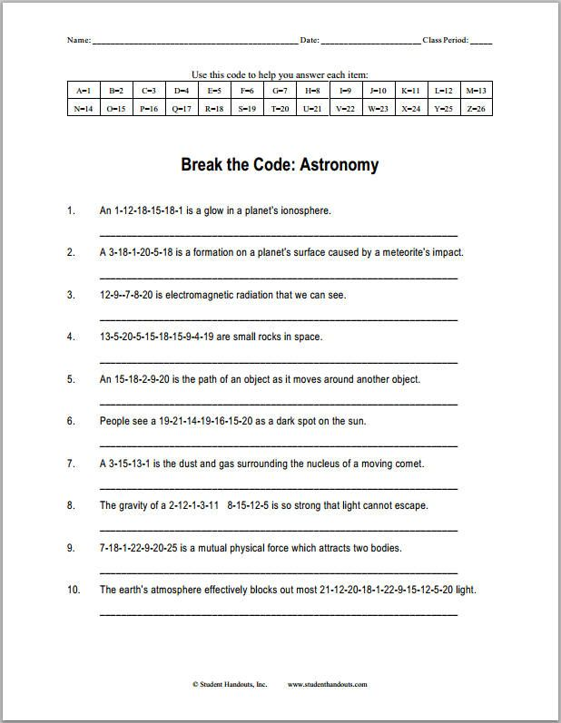 astronomy break the code puzzle worksheet science pinterest worksheets complete sentences. Black Bedroom Furniture Sets. Home Design Ideas