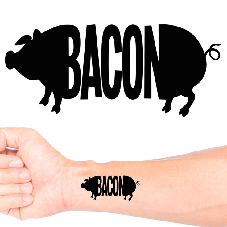 Bacon Pig Temporary Tattoo #1160 (30 pack)