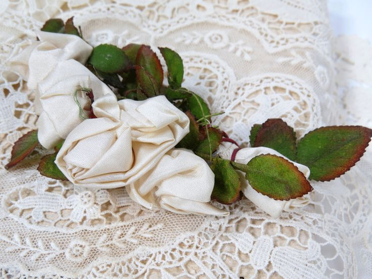 Antique Ivory Rayon Silk Ribbon Rosette Sew On for Bridal Headpiece, Graduation, Hats, Fashion by UrbanRenewalDesigns on Etsy