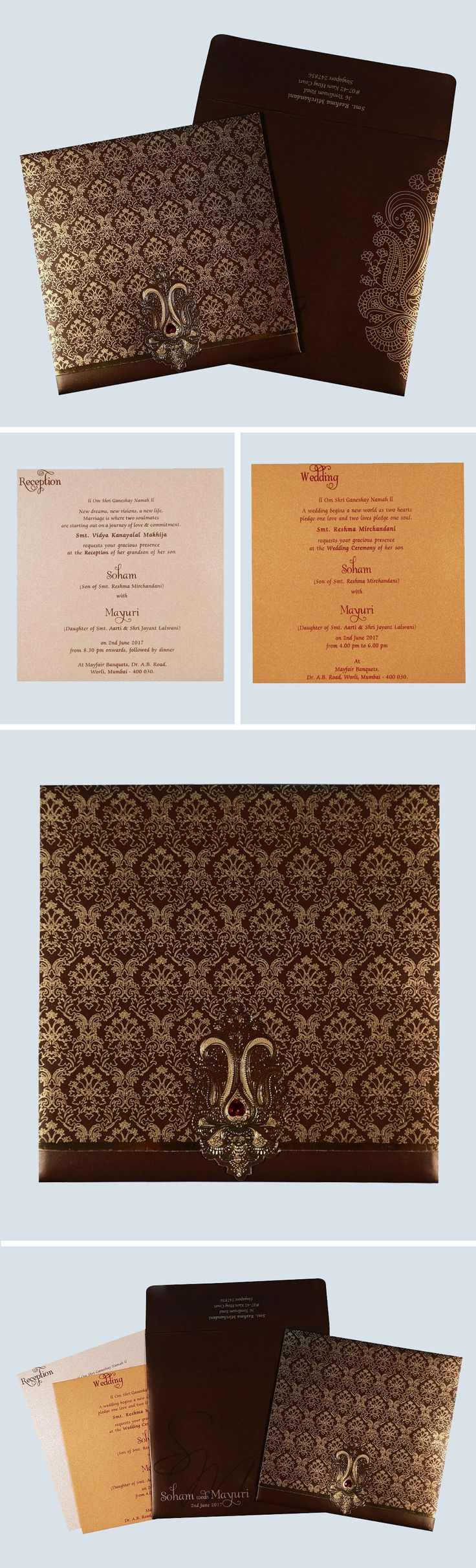 indian wedding invitation card template%0A Give your wedding a special feel with our exclusive Brown  Shimmer Paper   Designer Wedding Cards