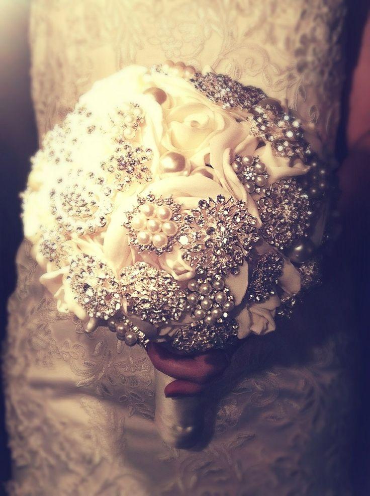 Brooch Wedding Bouquet By Beautique Weddings.  Email: beawed@outlook.com Facebook: Beautique Wedd Ings