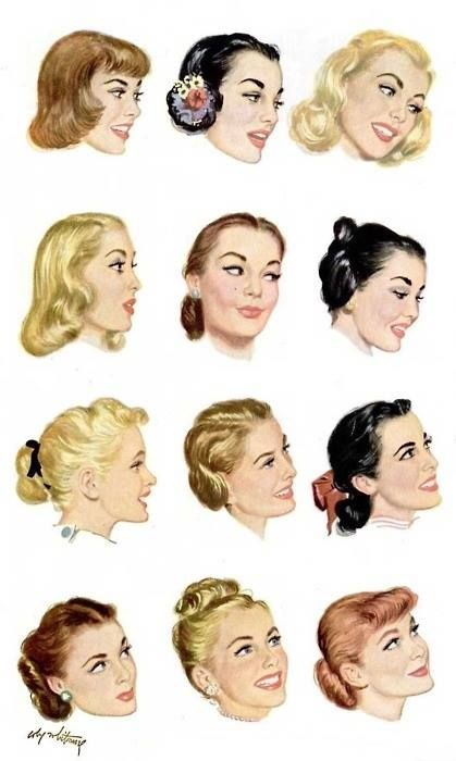 1950s Hairstyle illustrations                                                                                                                                                                                 More
