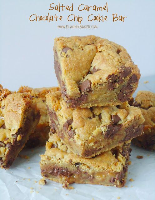 Salted Caramel Chocolate Chip Cookie Bars via Blahnik Baker. These look so darn good! If I made these, I would probably eat the whole batch!