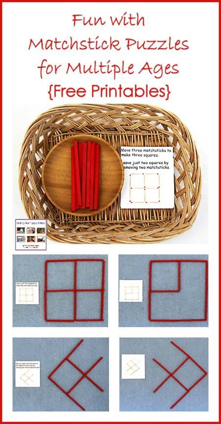 Montessori-inspired activities with matchstick puzzles. Ideas for matchstick math for multiple ages using Spielgaben wooden sticks instead of matchsticks; post includes links to many free matchstick puzzles.