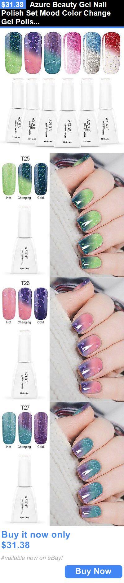 Gel Nails: Azure Beauty Gel Nail Polish Set Mood Color Change Gel Polish  Set,
