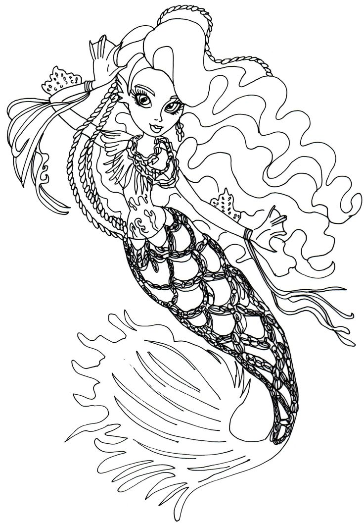 Monster High Free Printables | Free printable monster high coloring page for Sirena Von Boo in her ...