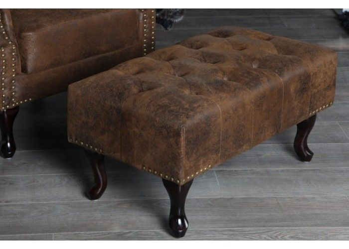 Chesterfiled Brown Stool  #furniture #vintage #vintagecollections #homedecor #interiordesign #housegoals  #irenesworld #home