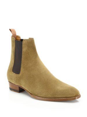 SAINT LAURENT Suede Chelsea Boots. #saintlaurent #shoes #boots