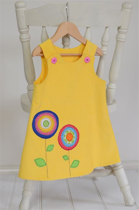 """""""Bright Blooms"""" Corduroy Pinafore with applique  Yellow, rainbow, flowers"""