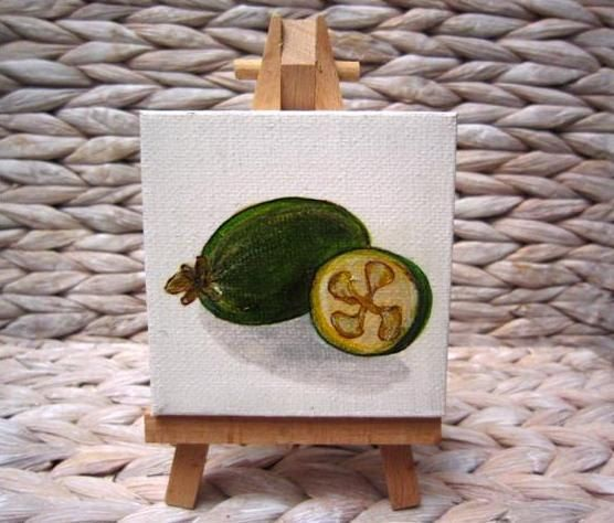 Feijoa Art - Kiwiana Pocket Painting. via Etsy.