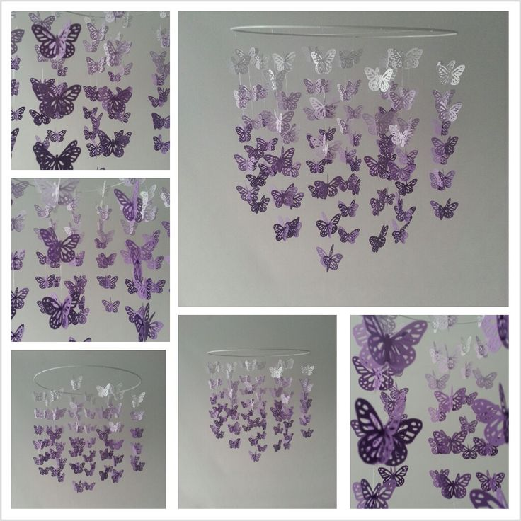 Butterfly Baby Mobile Ombre Purple Lavender White by magicalwhimsy, $60.00
