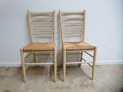 Pair Vintage Mid Century Rush Seat Ladder Back Dining Room Side Chairs |  eBay. - 102 Best Antique Furniture--chairs And Benches Images On Pinterest