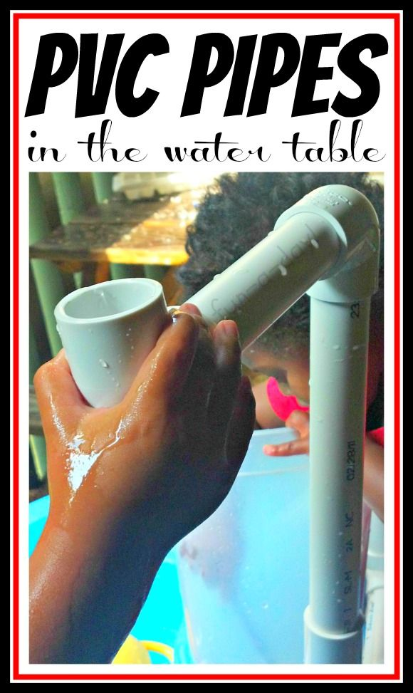 PVC Pipe Physics for Kids -- Kids exploring physics concepts with pvc pipes in the water table!  Lots of building fun, experimenting, giggles, and wet children!