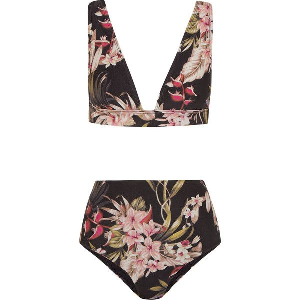 Zimmermann Curacao floral-print bikini found on Polyvore featuring swimwear, bikinis, swimsuit, floral high waisted swimsuit, high-waisted bathing suits, swimsuits bikini, high waist bikini swimsuit and halter bikini tops