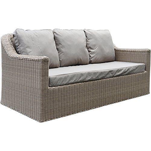 Banbury Pecan Outdoor All Weather Rattan Garden / Conservatory Three Seater Sofa