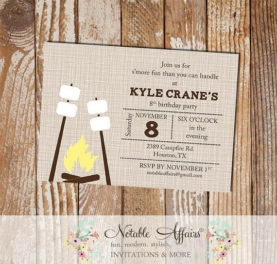 Smores Campfire Camping -  Birthday invitation Engagement party Bridal Shower Couples shower Bonfire etc  - choose your wording