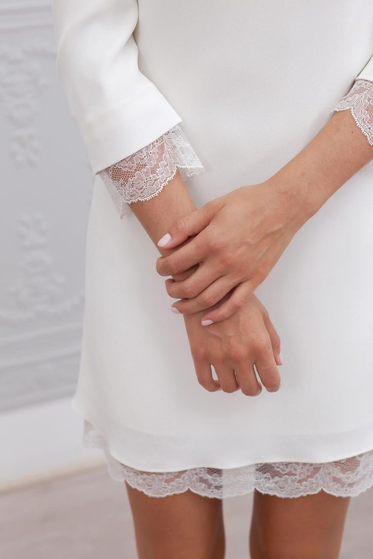 Elegant 3/4 Sleeves Backless Lace Satin Short Mini Sheath Beach Wedding Dress - Uniqistic.com