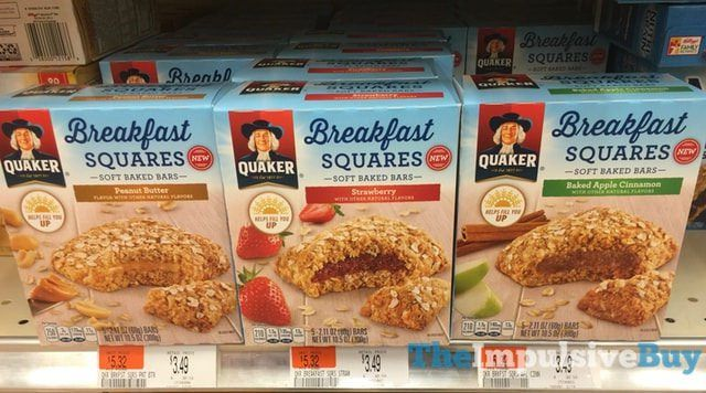 Quaker Breakfast Squares Soft Baked Bars (Peanut Butter, Strawberry, and Baked Apple Cinnamon)