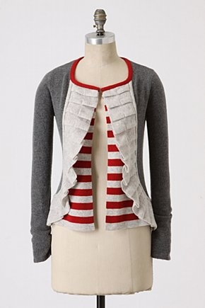 Repurposed inspiration: cardigan with pleated edging.